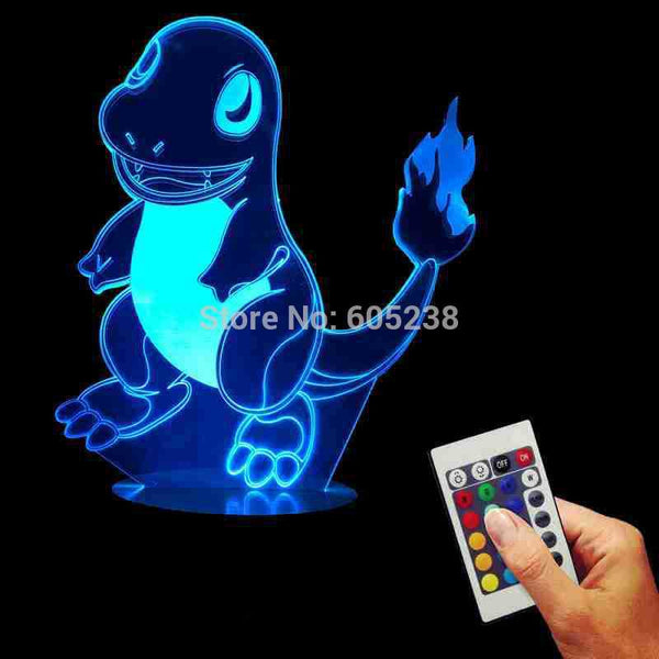 Free Shipping Pokemon Charmander 3D Acrylic LED Wood Mood Lamp USB Table Night Lamp Pokemon Go Action Figure Carton Light