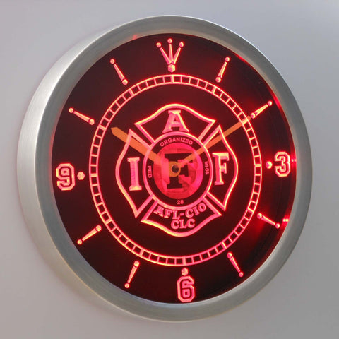 Fire Rescue IAFF FireFighters Department LED Wall Clock -  - TheLedHeroes