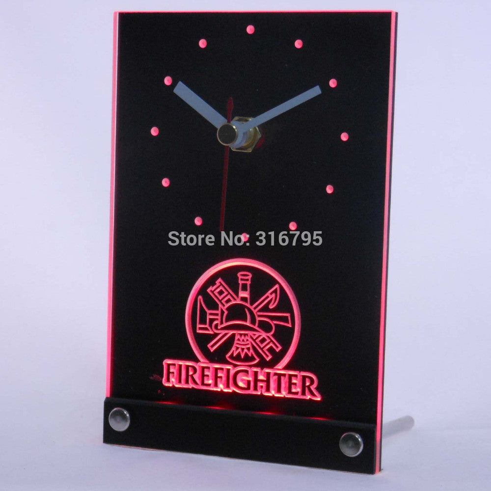 Firefighter Fireman 3D LED Table Desk Clock -  - TheLedHeroes