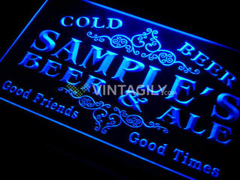 Beer & Ale Vintage Name Personalized Custom LED Sign -  - TheLedHeroes