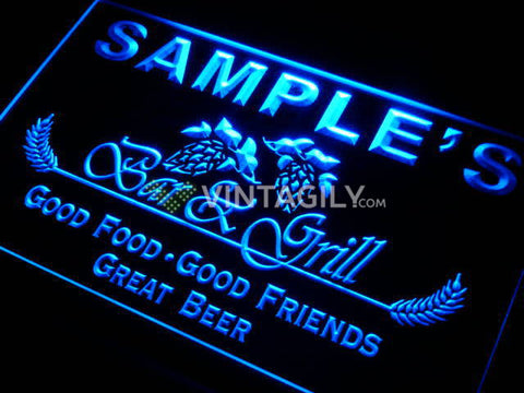 Family Bar & Grill Name Personalized Custom LED Sign - Blue - TheLedHeroes