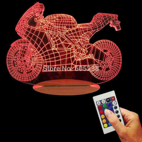 Free Shipping 3D Design Motorcycle Shape Night Light Home Decoration Color-Changing Atmosphere Lamp With USB Charger