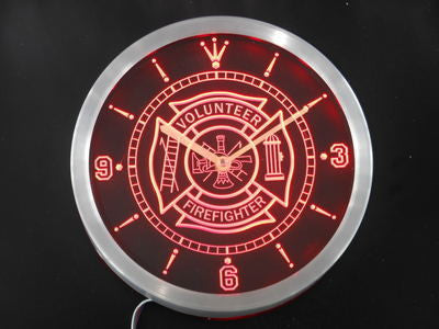 Firefighter Volunteer Fire Department Bar Beer LED Wall Clock -  - TheLedHeroes