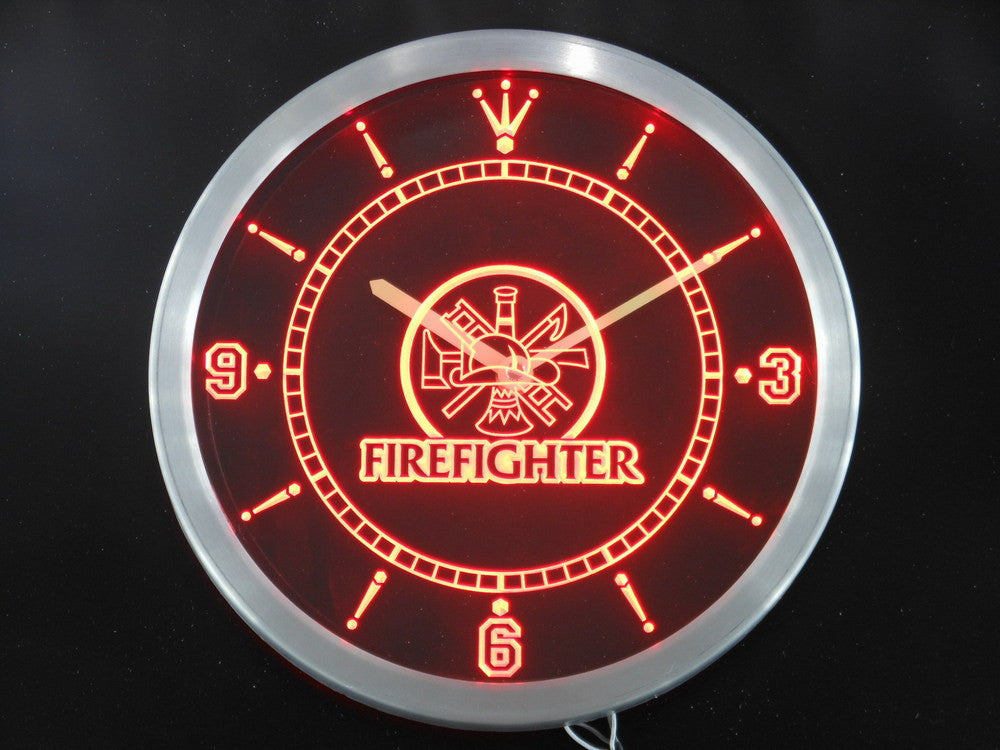 Fire Fighter Ladder AXE Helmet LED Wall Clock -  - TheLedHeroes
