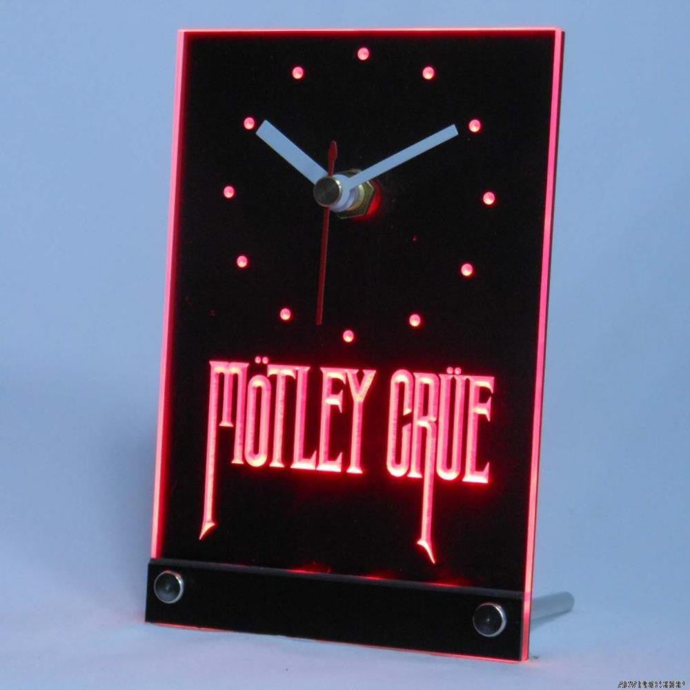 Motley Crue Band Rock Bar Beer Table Desk 3D LED Clock -  - TheLedHeroes