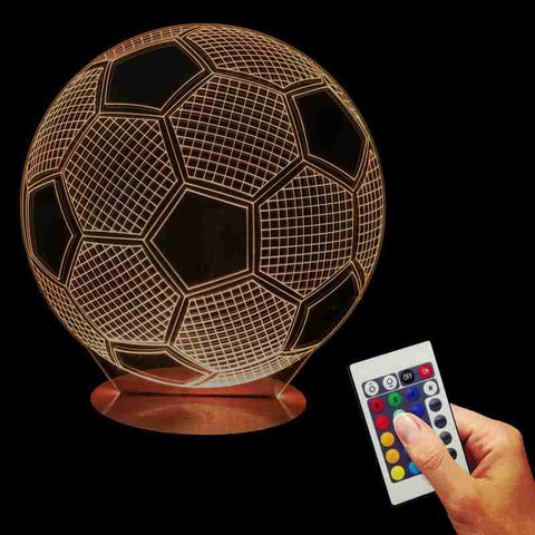 Free Shipping 3D Artistic Football Shape Acrylic Discoloration Atmosphere Lamp Bulbing Table Light For Football Lovers