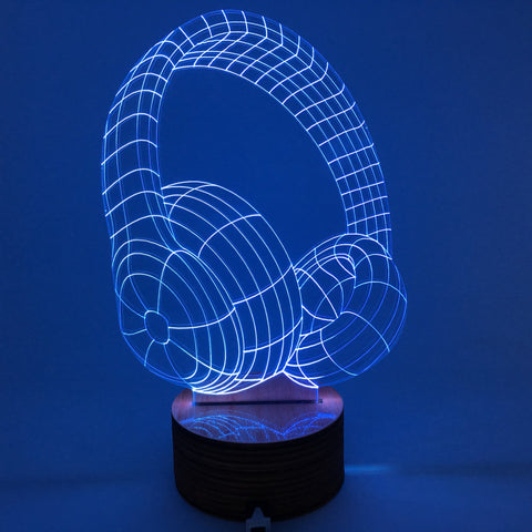 Free Shipping 3D Headphones Changing Color Calming Light Handmade Plexiglass Lighting Gadget