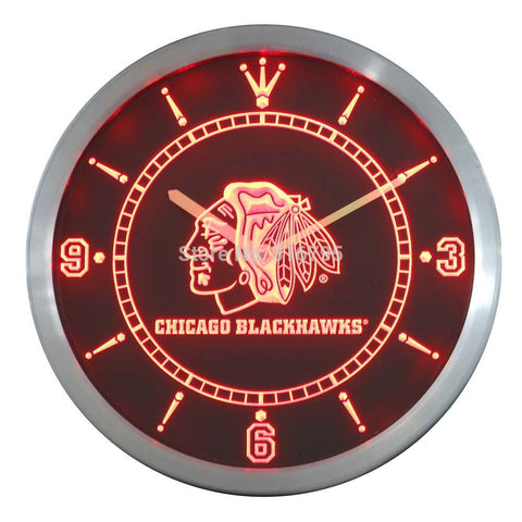Chicago Blackhawks Sign LED Wall Clock - Red - TheLedHeroes