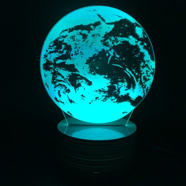 Free Shipping 3D Optical Illusion Earth Bulbing Lamp Plexiglass Vision LED Lamp with Color Changing Remote Controller