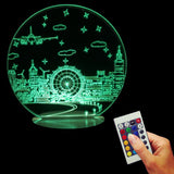 Free Shipping Home Decor Night Scene Table Light 3D Night Light Color Changing LED Table Light USB Wood Base Kid Lamp