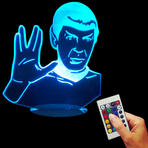 Free Shipping  In Memeory of Leoard Nomoy Star Trek 3D Bulbing Light Vulcan Mr.Spock Classic Led USB Desk Lamp