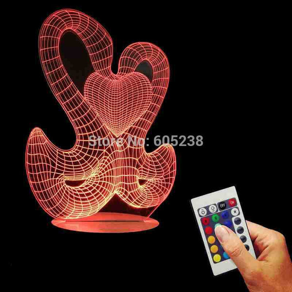 Free Shipping USB Remoted Controlled Double Swan Night Light 3D LED Bulbing Table Light Desk Lamp Color Changing Light