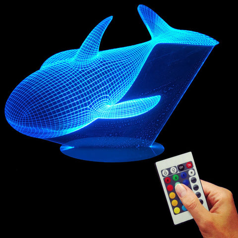 Free Shipping 3D Effect LED lamp Whale Night Led Light with Amazing 3D Optical Illusion Color Changing Remote Control