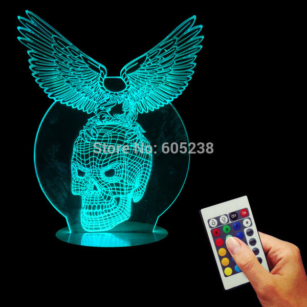 Free Shipping Remote Controlled 3D Multi-colored Eagle Skull Light Acrylic Handmade Wood Mood Desk Eagle Skeleton Lamp