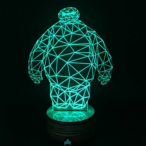 Free Shipping 3D Big Baymax High Technology Originality Color Changing Night Light