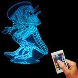 Free Shipping Independence Day 3D Heteroideus Alien Desk Light Optical Illusion Led Lamp Light Remote Control Mood Light