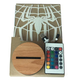 Free Shipping Superhero Spiderman Spider Logo Lit Acylic Display 3D Lights LED Optical Illusion Desk Lamp Light