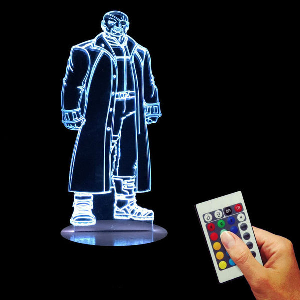 Free Shipping Marvel Superhero Agent of SHIELD Nick Fury Bulbing Table Light 3D Vision Illusion  Lamp Color Changing LED