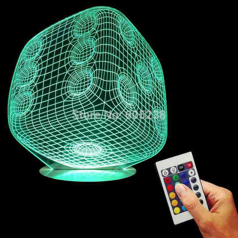 Free Shipping 3D Dice Shape Night Light Acrylic Discoloration Colorful Atmosphere Lamp Indoor Decoration LED Desk Light