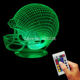 Free Shipping 3D Desk Night Light Rugby Cap Light Home Decor Color Changing LED Table Light For Sports Enthusiast