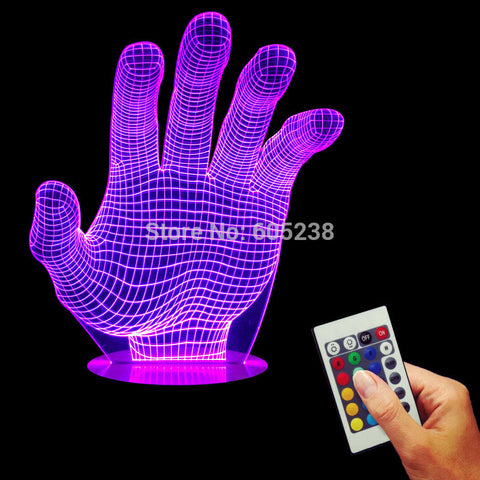 Free Shipping 3D Hologram Illusion Palm Night Light LED Table Lamp Color-Changing Atmosphere Lamp With USB Charger