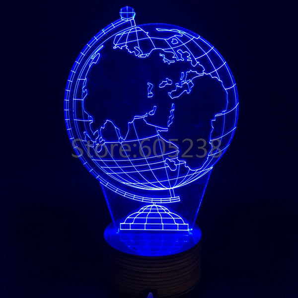 Free Shipping Bulbing Light A 2D LED Lamp Featuring 3D Wire Frame Images Earth Globe Lamp