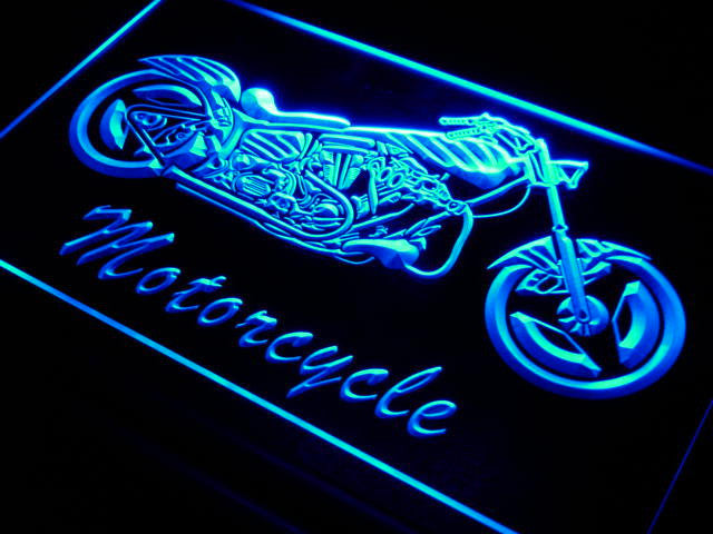 Motorcycle Bike Sales Services LED Sign - Blue - TheLedHeroes