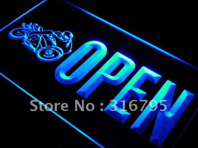 OPEN Motorcycles Auto Shop Car LED Sign - Blue - TheLedHeroes