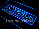 I Love Jesus and I Ride Motorcycle LED Sign - Blue - TheLedHeroes