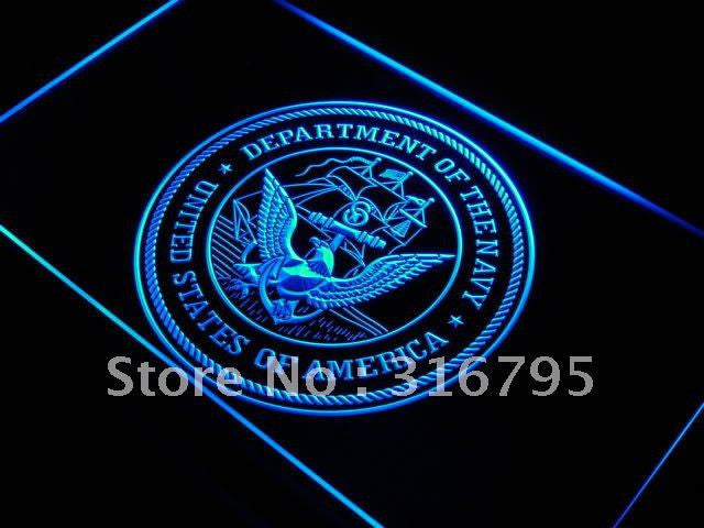 U.S. Navy Eagle Bar Decor Badge LED Sign - Blue - TheLedHeroes