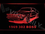 Ford 302 Boss 1969 LED Neon Sign Electrical - Red - TheLedHeroes