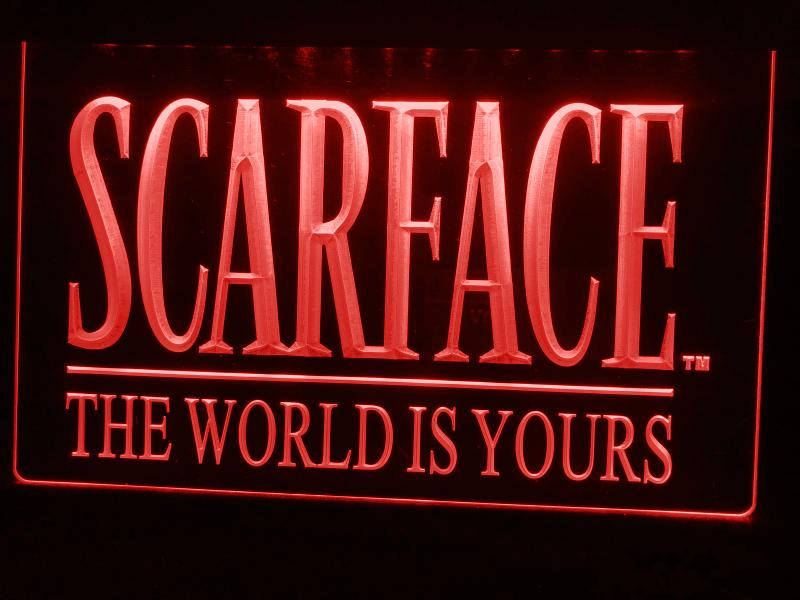 Scarface The World is Yours LED Neon Sign USB - Red - TheLedHeroes