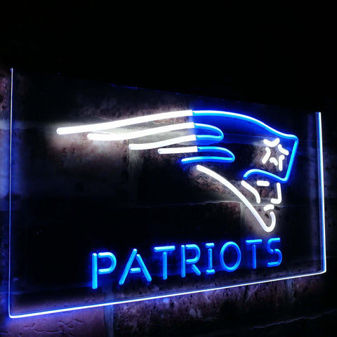 New England Patriots Dual Color Led Sign - Normal Size (12x8.5in) - TheLedHeroes