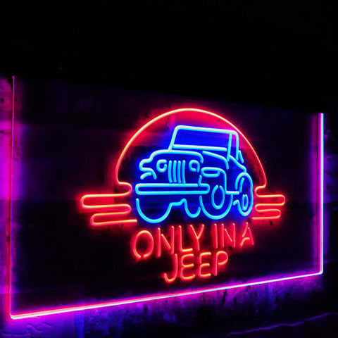 Only in a Jeep 2 Dual Color Led Sign - Normal Size (12x8.5in) - TheLedHeroes