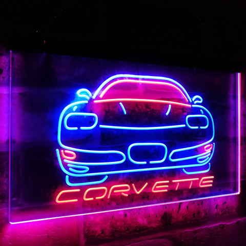 Corvette Dual Color Led Sign - Normal Size (12x8.5in) - TheLedHeroes