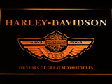 Harley Davidson 100 Years LED Sign - Orange - TheLedHeroes