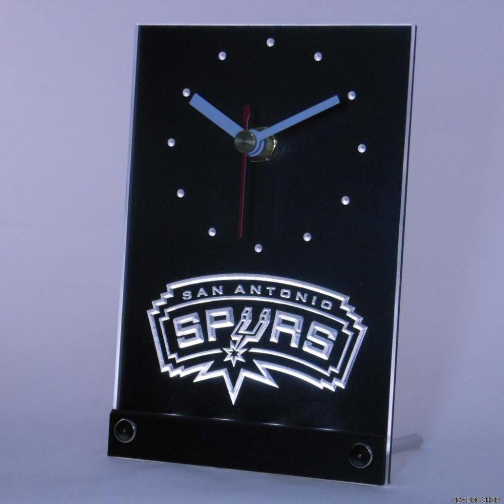 San Antonio Spurs Table Desk 3D Led Clock - White - TheLedHeroes