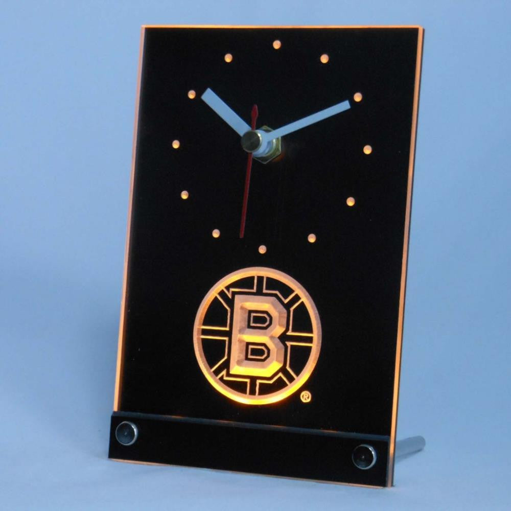 Boston Bruins Desk LED Clock - Yellow - TheLedHeroes