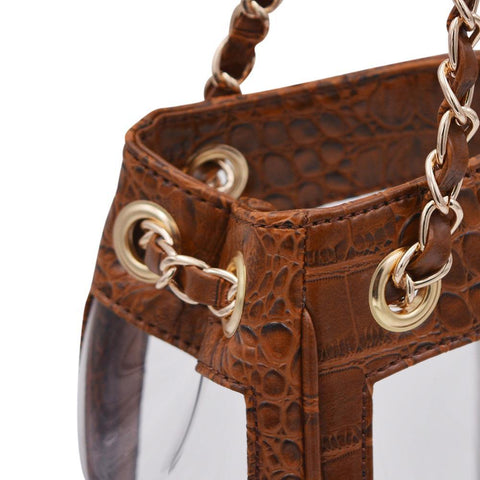 The Bare Boss- Cognac Croc - POLICY Handbags Policy Bag