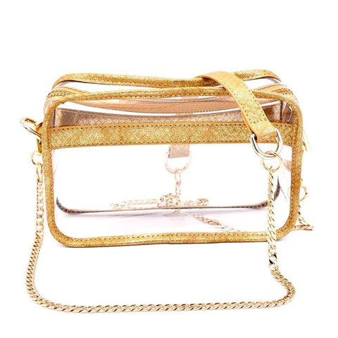 clear handbag cross body gold