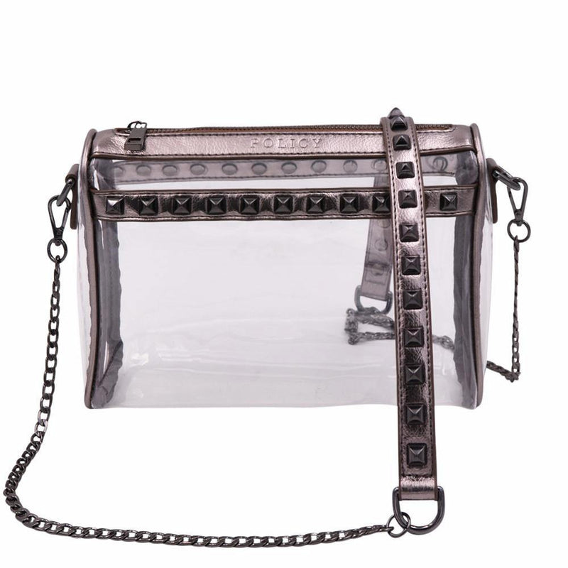 The Rockstar- Platinum Gunmetal - Policy Handbags