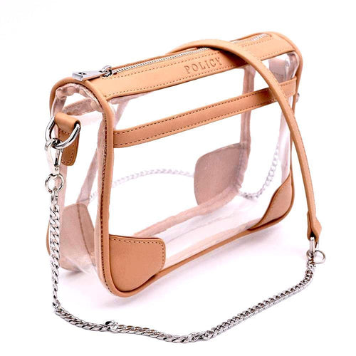 clear handbag cross body tan bag policy