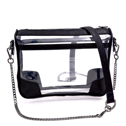 clear handbag cross body black
