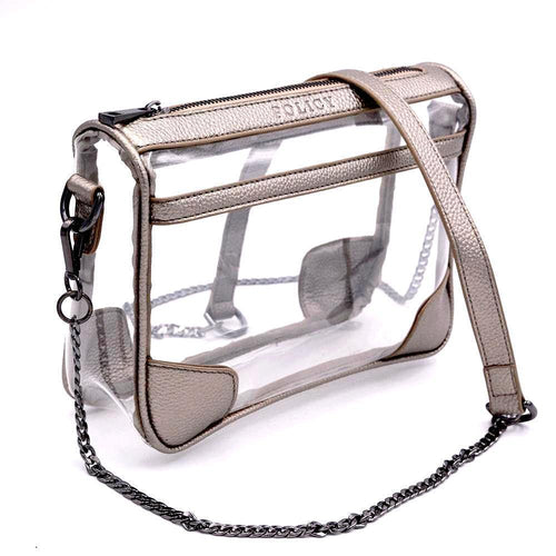 clear handbag cross body metallic pewter bag policy