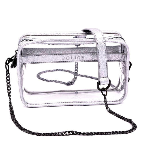 clear handbag cross body silver handbag policy