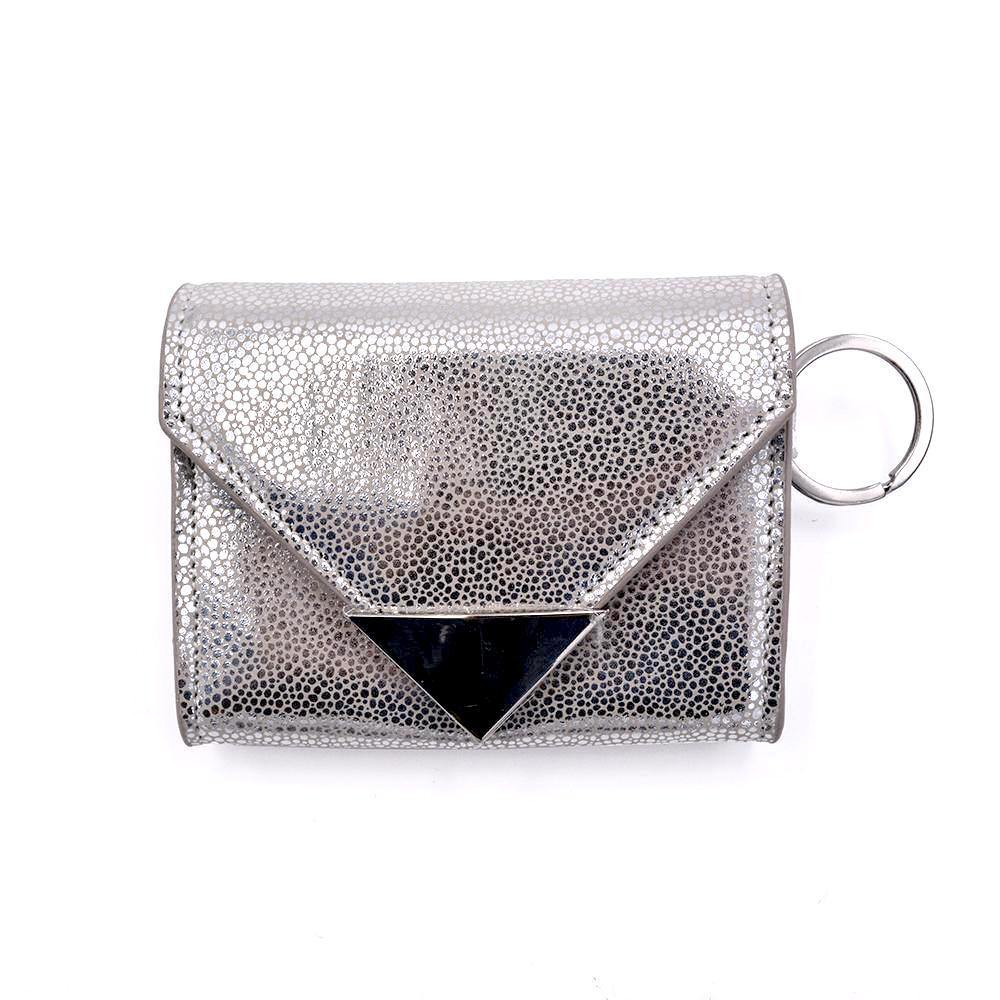 The Future Wallet Keychain- Silver Stingray | POLICY Handbags | POLICY Handbags