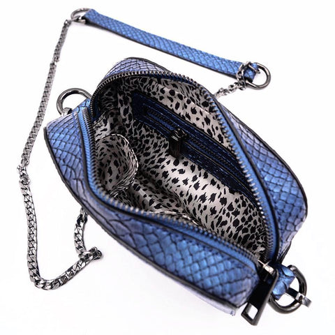 The Hawkins- Blue Boa - POLICY Handbags Policy Bag