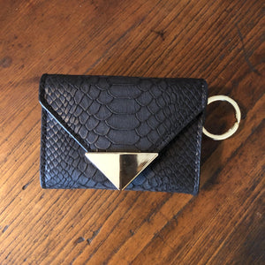The Future Wallet Keychain- Black Snake - POLICY Handbags Policy Bag