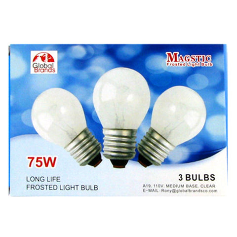 Superior GB08070 3pcs Frosted Light Bulb 75W 40CT Nice Design