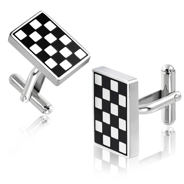 Stainless Steel 2-tone Grid/Checker Rectangle Cufflinks (pair)